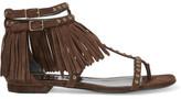 Saint Laurent Studded Fringed Suede Sandals - Dark brown
