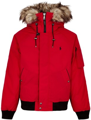 Polo Ralph Lauren Red Faux Fur-trimmed Shell Bomber Jacket