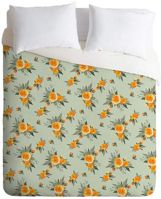 Deny Designs Iveta Abolina Tangerine Burst Queen Duvet Set Bedding