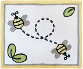 Sweet Jojo Designs Honey Bee Hand Tufted White Area Rug