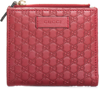 Gucci Red Microguccisima Leather Compact Wallet