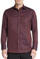 Saks Fifth Avenue Regular-Fit Contrast-Cuff Cotton Sportshirt