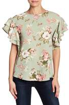 Blvd Layered Ruffle Sleeve Floral Blouse