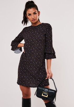 Missguided Black Floral Print Frill Sleeve Shift Dress