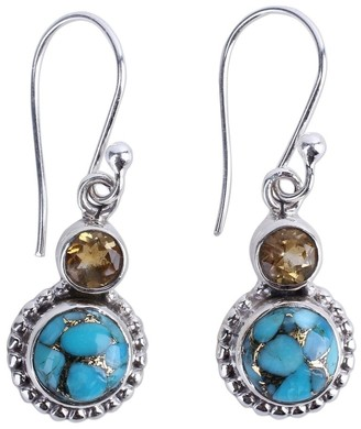 Novica Sterling Silver 'Earth and Sun' Citrine Turquoise Gemstone Earrings