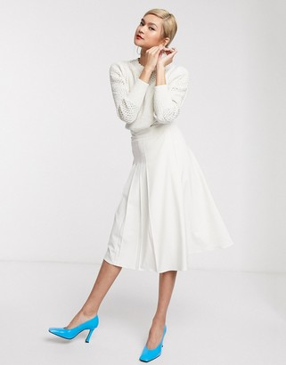 And other stories & pleated midi skirt with split in cream