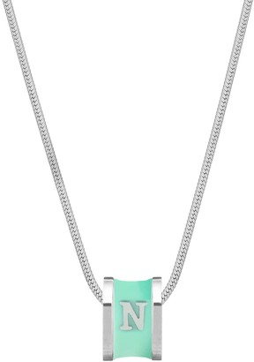N. Initial Silver Necklace With Turquoise Enamel