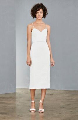 Amsale Bow Back Midi Sheath Dress
