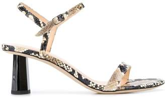 BY FAR 70mm open toe snake-effect sandals