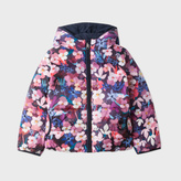 Paul Smith Girls' 7+ Years Floral Print Reversible Hooded Down Jacket
