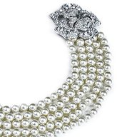 Kenneth Jay Lane Pave Flower Clasp 5 Strand Pearl Necklace
