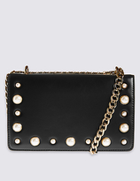 M&S Collection Faux Leather Pearl Shoulder Bag