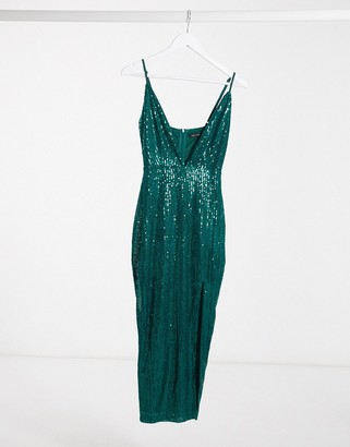 I SAW IT FIRST sequin strappy midi dress in green