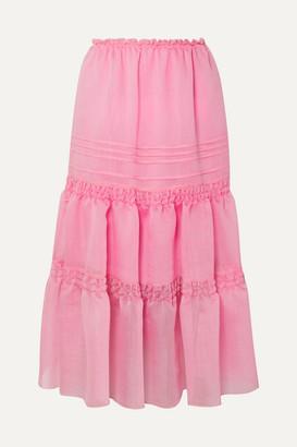 See by Chloe Tiered Organza Midi Skirt - Pink