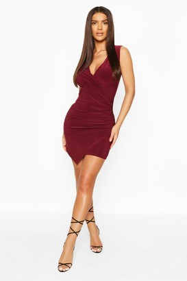 boohoo Sleeveless Rouche Wrap Mini Dress
