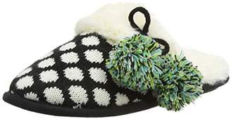 Dearfoams Women's Fairisle Closed Toe Scuff with Poms and Memory Foam Open Back Slippers, Black (Black 00001), 7-8 Uk (40-41 EU)
