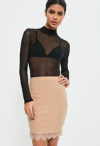 Missguided Nude Jersey Crepe Lace Mini Skirt