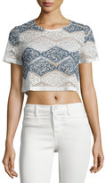 Romeo & Juliet Couture Short-Sleeve Lace Crop Top, White/Blue