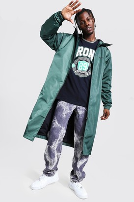 boohoo Mens Green Longline Cagoule With MAN Official Back Print, Green