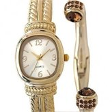 Elgin Women's -Tone Bangle Watch and Matching Bracelet Set