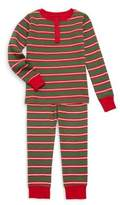 Hatley Little Boy's & Boy's Two-Piece Santa Stripe Waffle Henley Cotton Pajamas