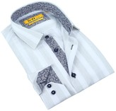 Brio Long Sleeve Tailor Fit Stripe Dress Shirt
