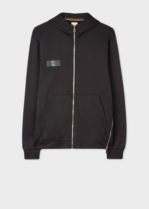 Paul Smith Men's Black Zip Hoodie With 'Paul Smith' Leather Patch