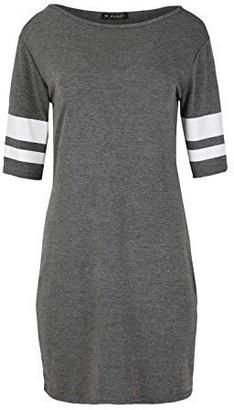 Fashion Star Womens Mini Bodycon Dress Fitted 3/4 Sleeve Stripes Stretchy Tunic Dress Cerise