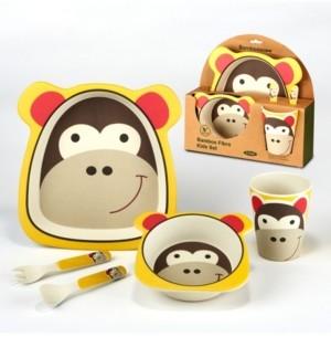 Certified International Monkey Eco Friendly Bamboo Fiber 5-Pc. Kids Dinnerware Set