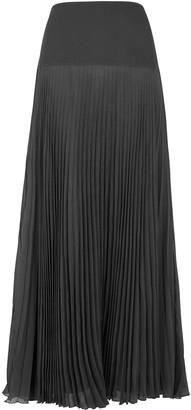 Chloé Grey Pleated Crepon Maxi Skirt