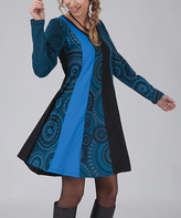Aller Simplement Teal & Black Medallion Color Block Dress