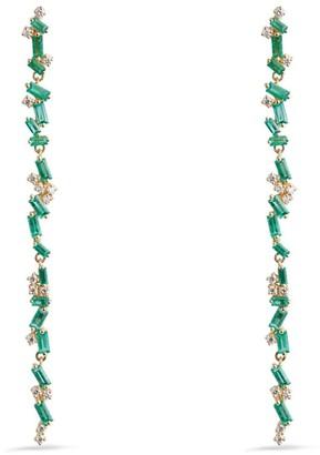 Suzanne Kalan Yellow Gold, Diamond and Emerald Fireworks Drop Earrings