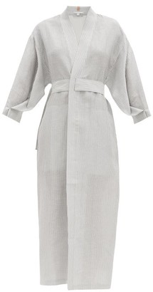 Lunya - Resort Linen-blend Robe - Blue Stripe