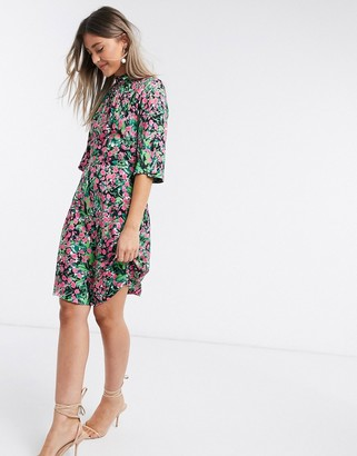 Closet London high neck short mini dress in bright ditsy floral