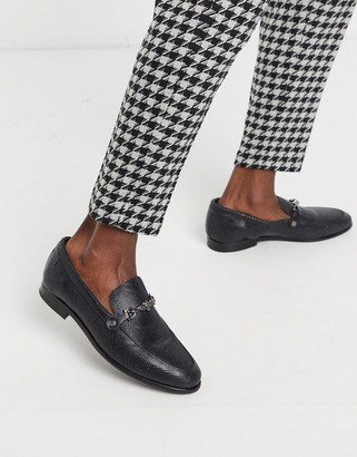 Twisted Tailor leather faux snake loafer with buckle in black