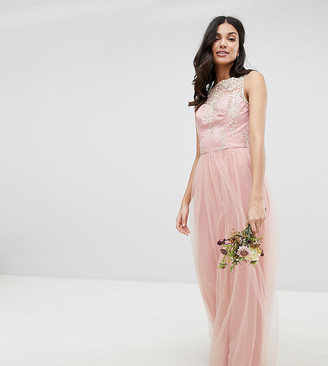Chi Chi London Tall Sleeveless Maxi Dress with Premium Lace and Tulle Skirt