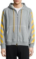 Moncler Striped Zip-Front Hoodie, Gray