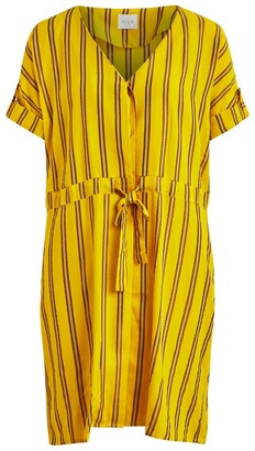 Vila Mini Flared Dress in Metallic Stripes with V-Neck and Short Sleeves