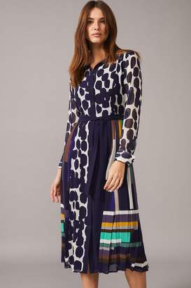Phase Eight Womens Blue Tanjina Smudge Spot Pleat Dress - Blue