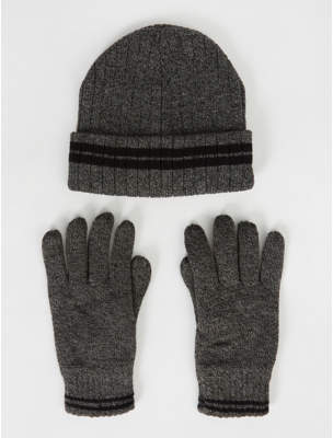 George Thinsulate Grey Marl Fleece Lined Beanie Hat and Gloves Set