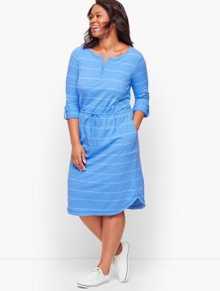 Talbots Stripe Roll Cuff Henley Dress