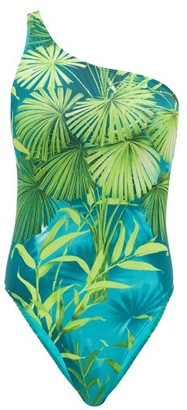 Versace Jungle-print One-shoulder Swimsuit - Green Print