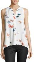 Joie Aruna Butterfly-Print Silk Tank Top, Porcelain