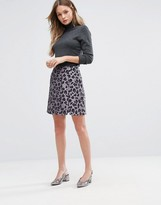 Oasis Leopard Jacquard Mini Skirt