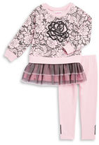 Flapdoodles Girls 2-6x Sequined Floral Dress and Leggings Set