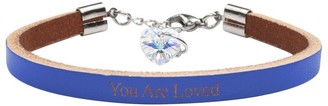 Genuine Leather Bracelet Made with Crystals From Swarovski by Pink Box You Are Loved Blue