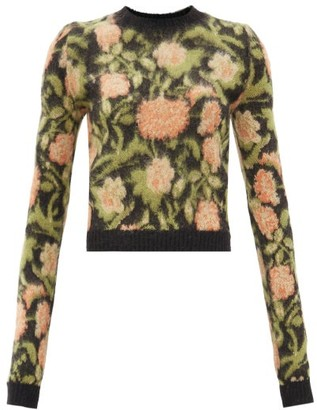 Paco Rabanne Floral-jacquard Mohair-blend Sweater - Multi