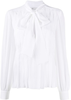 Blumarine Pleated Pussy-Bow Blouse