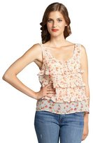 BCBGeneration taupe and orange floral printed chiffon ruffle trimmed tank