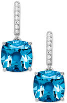 Macy's Blue Topaz (5-1/2 ct. t.w.) and Diamond Accent Drop Earrings in 14k White Gold